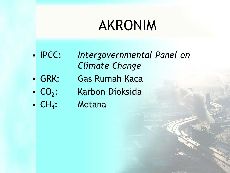•IPCC:Intergovernmental Panel on Climate Change •GRK:Gas Rumah Kaca •CO 2 :Karbon Dioksida •CH 4 :Metana AKRONIM