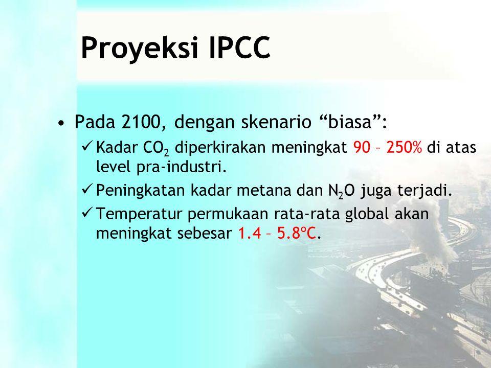 Proyeksi IPCC •Pada 2100, dengan skenario biasa :  Kadar CO 2 diperkirakan meningkat 90 – 250% di atas level pra-industri.