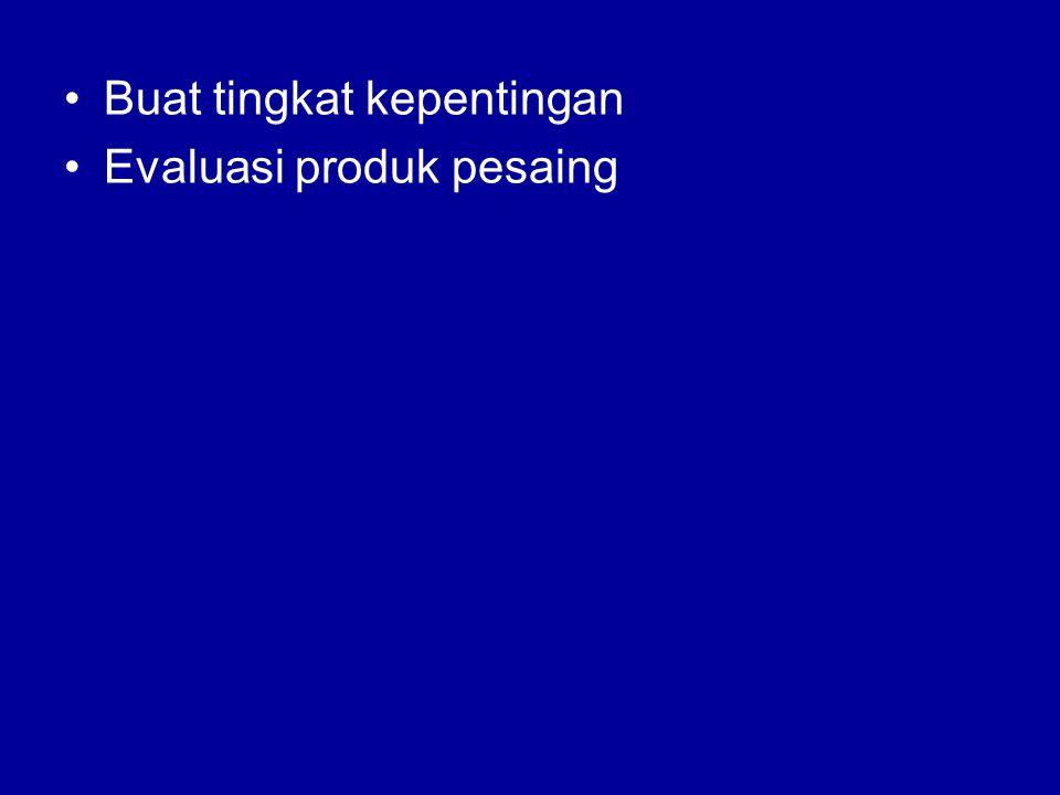 •Buat tingkat kepentingan •Evaluasi produk pesaing
