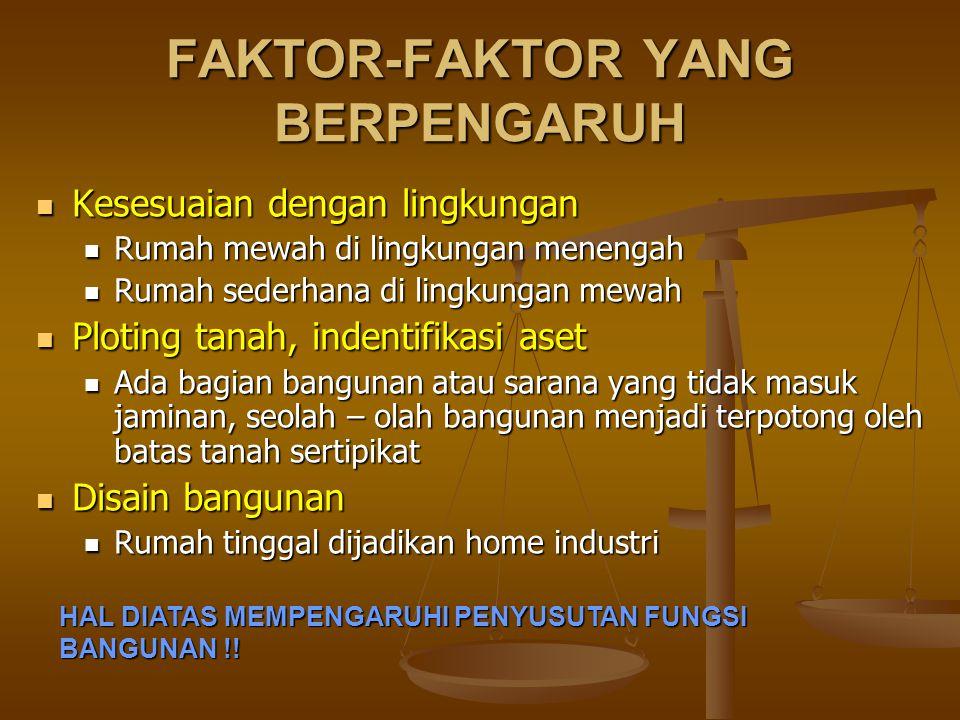 FAKTOR-FAKTOR YANG BERPENGARUH  Kesesuaian dengan lingkungan  Rumah mewah di lingkungan menengah  Rumah sederhana di lingkungan mewah  Ploting tan