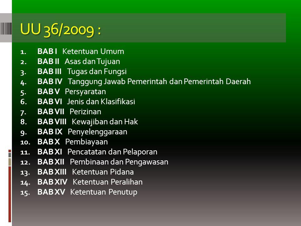 UU 36/2009 : 1. BAB I Ketentuan Umum 2. BAB II Asas dan Tujuan 3. BAB III Tugas dan Fungsi 4. BAB IV Tanggung Jawab Pemerintah dan Pemerintah Daerah 5