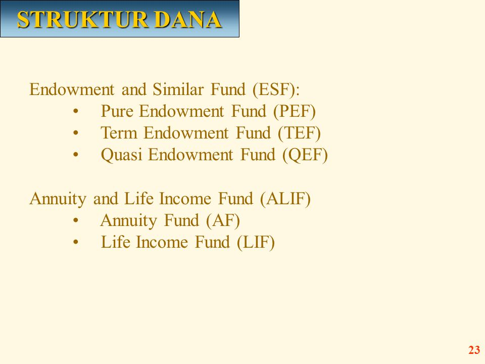 Endowment and Similar Fund (ESF): • Pure Endowment Fund (PEF) • Term Endowment Fund (TEF) • Quasi Endowment Fund (QEF) Annuity and Life Income Fund (A