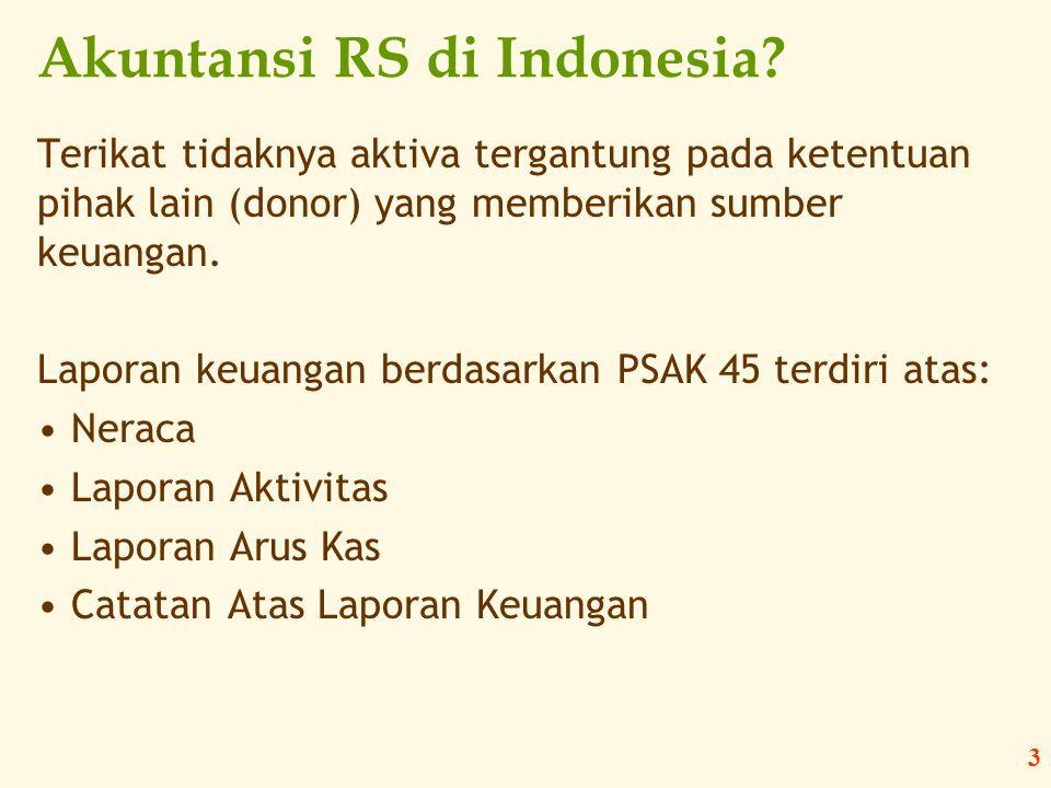 3 Akuntansi RS di Indonesia? Terikat tidaknya aktiva tergantung pada ketentuan pihak lain (donor) yang memberikan sumber keuangan. Laporan keuangan be