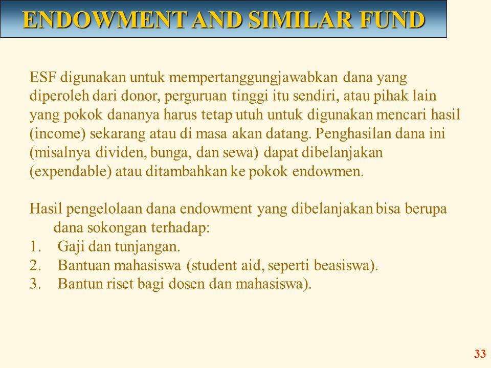 ESF digunakan untuk mempertanggungjawabkan dana yang diperoleh dari donor, perguruan tinggi itu sendiri, atau pihak lain yang pokok dananya harus teta