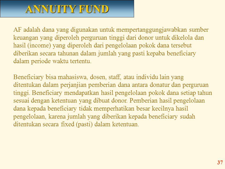 AF adalah dana yang digunakan untuk mempertanggungjawabkan sumber keuangan yang diperoleh perguruan tinggi dari donor untuk dikelola dan hasil (income