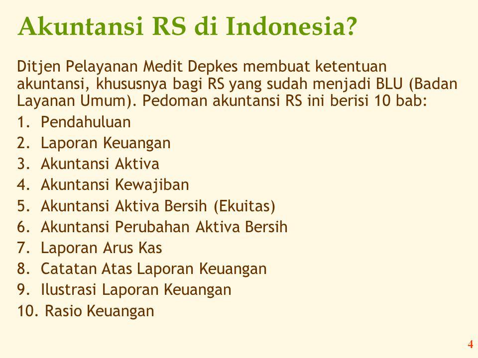 4 Akuntansi RS di Indonesia? Ditjen Pelayanan Medit Depkes membuat ketentuan akuntansi, khususnya bagi RS yang sudah menjadi BLU (Badan Layanan Umum).