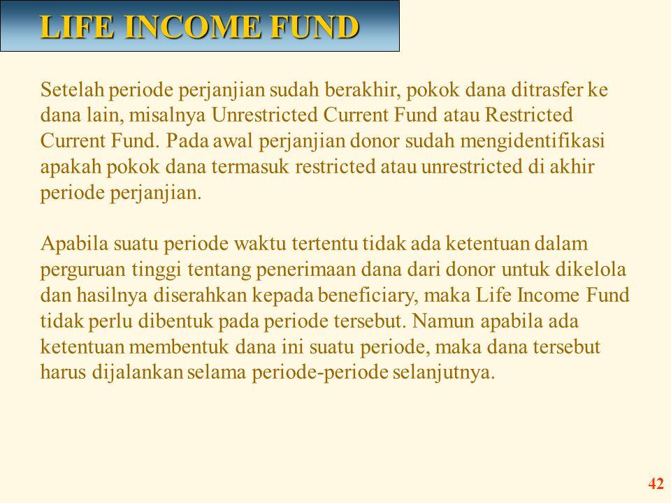 Setelah periode perjanjian sudah berakhir, pokok dana ditrasfer ke dana lain, misalnya Unrestricted Current Fund atau Restricted Current Fund. Pada aw