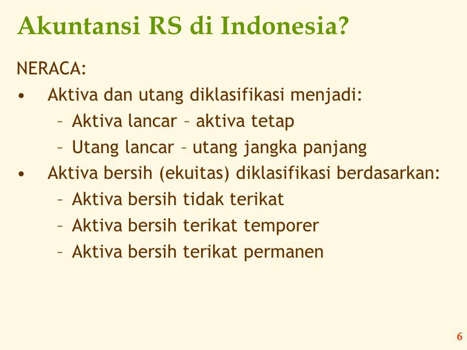 6 Akuntansi RS di Indonesia? NERACA: •Aktiva dan utang diklasifikasi menjadi: –Aktiva lancar – aktiva tetap –Utang lancar – utang jangka panjang •Akti