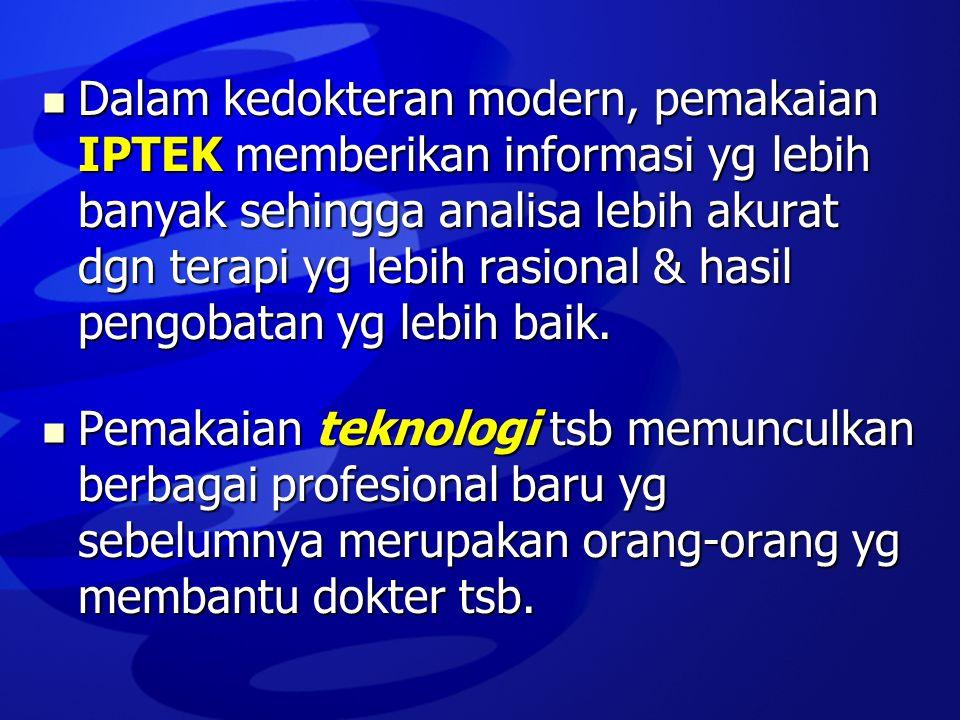  Dalam kedokteran modern, pemakaian IPTEK memberikan informasi yg lebih banyak sehingga analisa lebih akurat dgn terapi yg lebih rasional & hasil pen