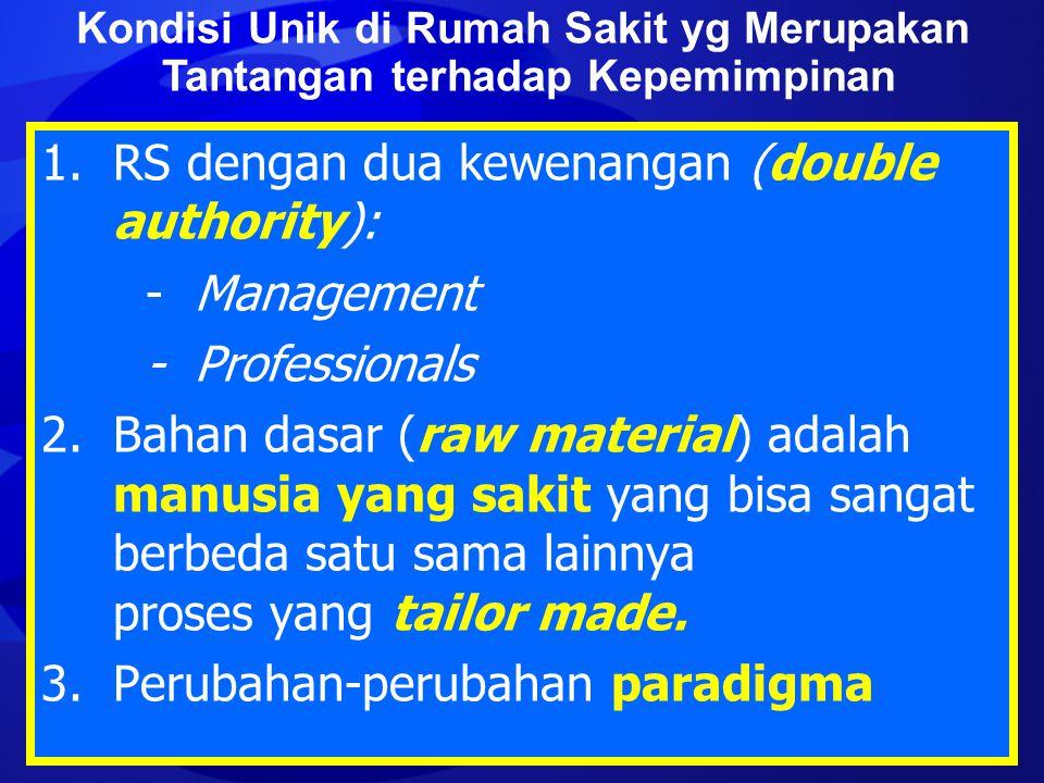1. RS dengan dua kewenangan (double authority): - Management - Professionals 2. Bahan dasar (raw material) adalah manusia yang sakit yang bisa sangat