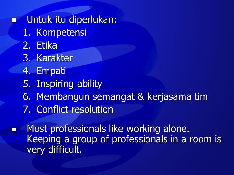  Untuk itu diperlukan: 1.Kompetensi 2.Etika 3.Karakter 4.Empati 5.Inspiring ability 6.Membangun semangat & kerjasama tim 7.Conflict resolution  Most
