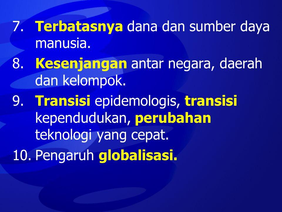 7.Terbatasnya dana dan sumber daya manusia. 8.Kesenjangan antar negara, daerah dan kelompok. 9.Transisi epidemologis, transisi kependudukan, perubahan