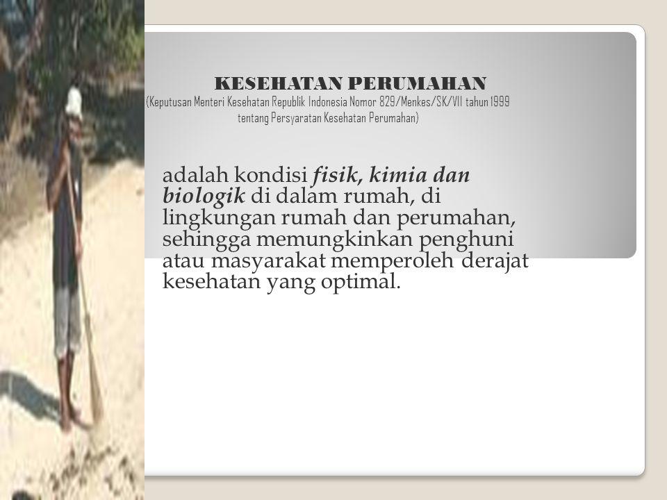 KESEHATAN PERUMAHAN (Keputusan Menteri Kesehatan Republik Indonesia Nomor 829/Menkes/SK/VII tahun 1999 tentang Persyaratan Kesehatan Perumahan) adalah