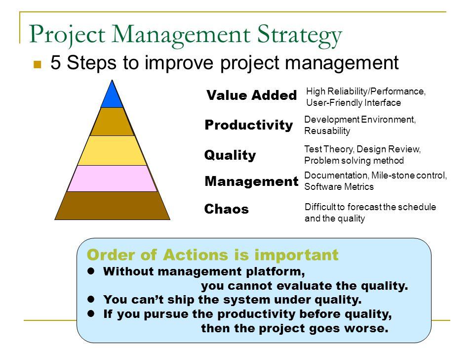 Project Management Strategy  5 Steps to improve project management Management Documentation, Mile-stone control, Software Metrics Quality Test Theory