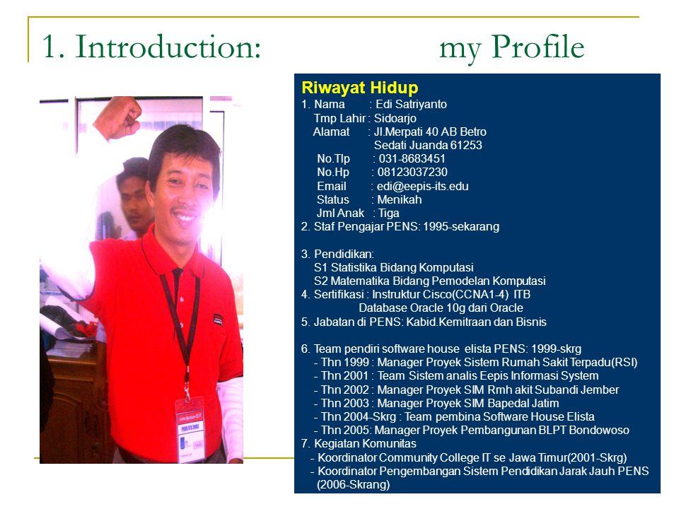 1. Introduction: my Profile Riwayat Hidup 1. Nama : Edi Satriyanto Tmp Lahir : Sidoarjo Alamat : Jl.Merpati 40 AB Betro Sedati Juanda 61253 No.Tlp : 0