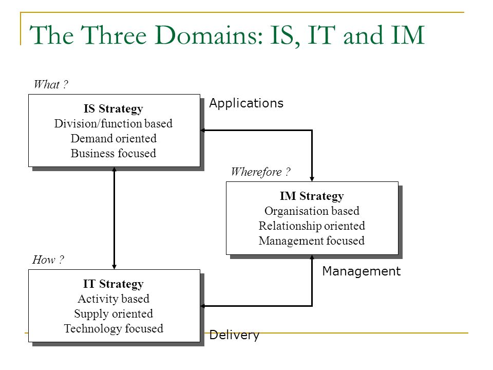 The Three Domains: IS, IT and IM IS Strategy Division/function based Demand oriented Business focused IS Strategy Division/function based Demand orien