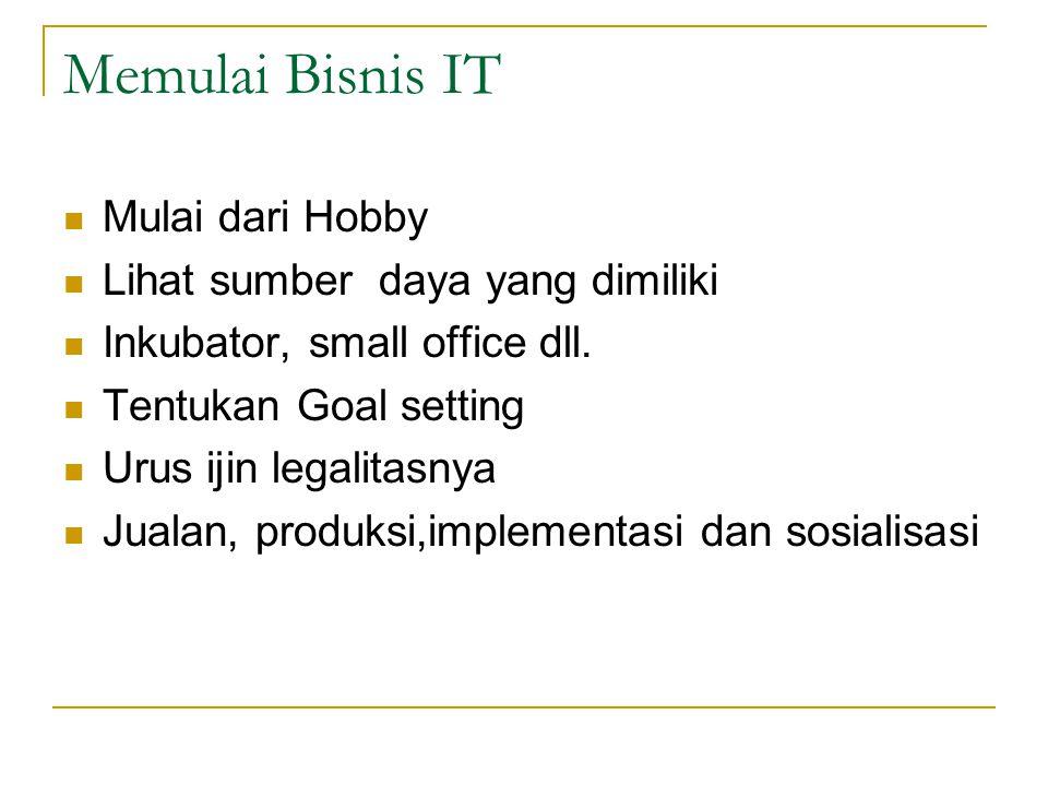 Memulai Bisnis IT  Mulai dari Hobby  Lihat sumber daya yang dimiliki  Inkubator, small office dll.  Tentukan Goal setting  Urus ijin legalitasnya