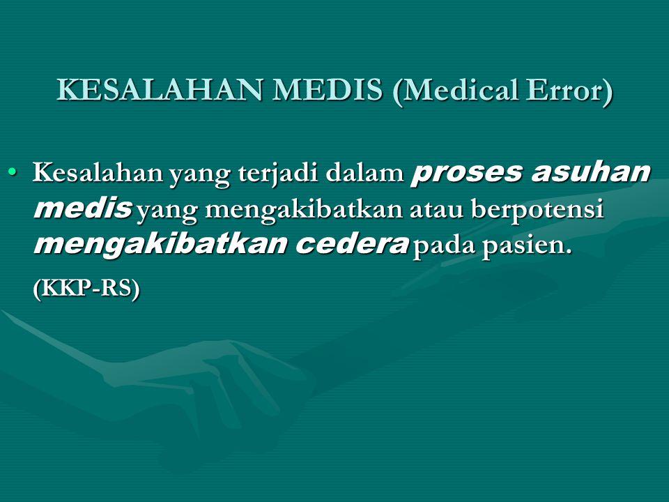 KESALAHAN MEDIS (Medical Error) •Kesalahan yang terjadi dalam proses asuhan medis yang mengakibatkan atau berpotensi mengakibatkan cedera pada pasien.