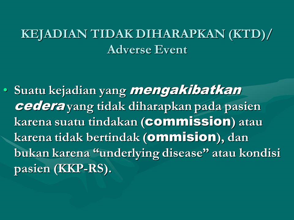 KEJADIAN TIDAK DIHARAPKAN (KTD)/ Adverse Event •Suatu kejadian yang mengakibatkan cedera yang tidak diharapkan pada pasien karena suatu tindakan ( commission ) atau karena tidak bertindak ( ommision ), dan bukan karena underlying disease atau kondisi pasien (KKP-RS).