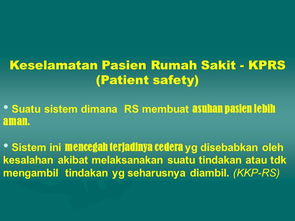 Keselamatan Pasien Rumah Sakit - KPRS (Patient safety) • Suatu sistem dimana RS membuat asuhan pasien lebih aman.