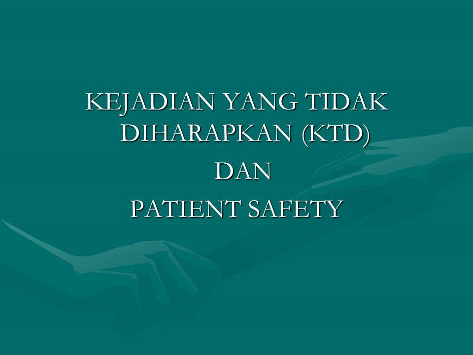 KEJADIAN YANG TIDAK DIHARAPKAN (KTD) DAN DAN PATIENT SAFETY