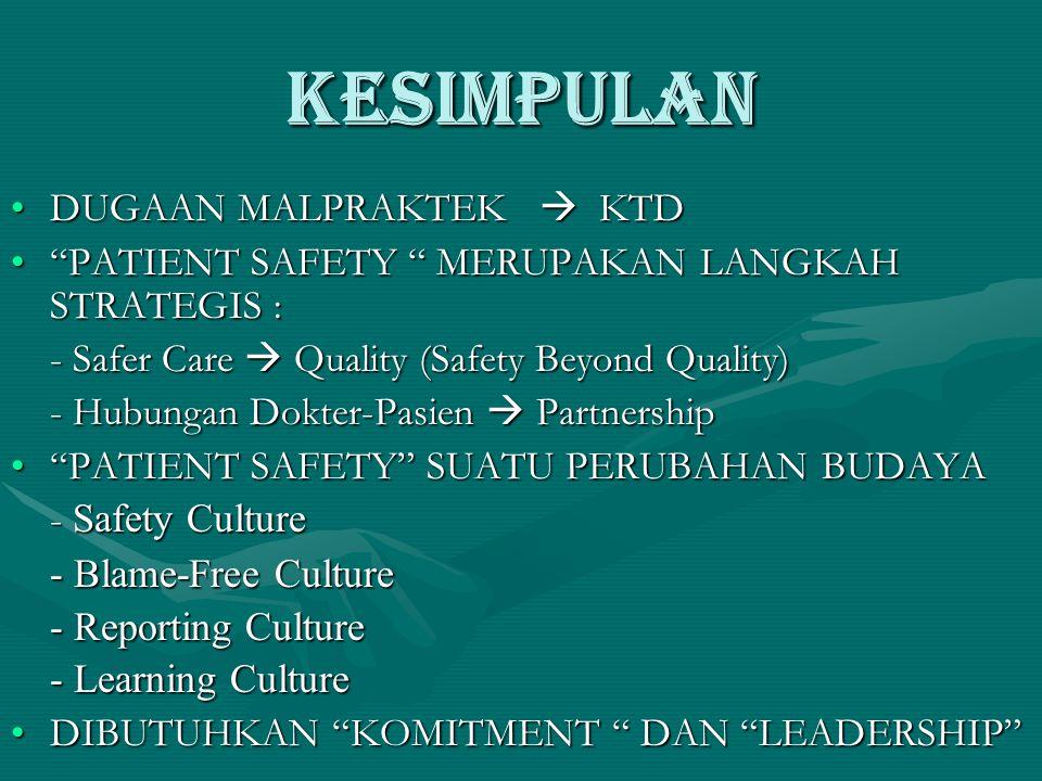 KESIMPULAN •DUGAAN MALPRAKTEK  KTD • PATIENT SAFETY MERUPAKAN LANGKAH STRATEGIS : - Safer Care  Quality (Safety Beyond Quality) - Hubungan Dokter-Pasien  Partnership • PATIENT SAFETY SUATU PERUBAHAN BUDAYA - Safety Culture - Blame-Free Culture - Reporting Culture - Learning Culture •DIBUTUHKAN KOMITMENT DAN LEADERSHIP