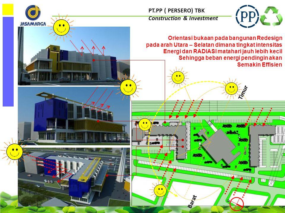 PT.PP ( PERSERO) TBK Construction & Investment OTTV CALCULATION Untuk bangunanKONSEP GREEN Mencapai angka 29,4 W/m2 Atau 15,6 point dibawah SNI 45 W/m2