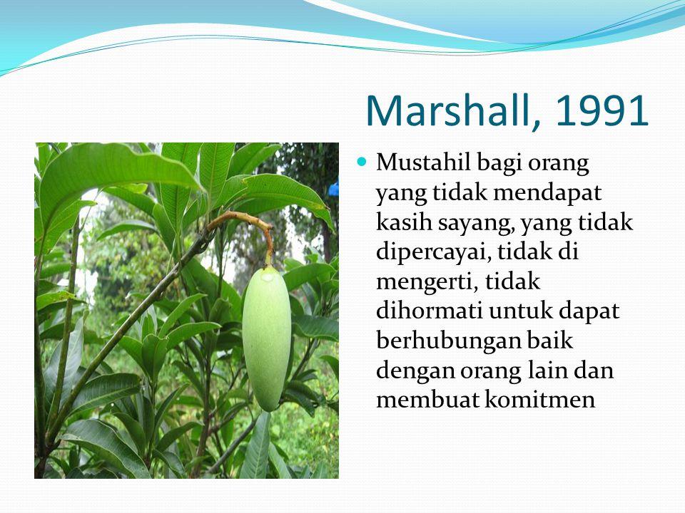 Marshall, 1991  Mustahil bagi orang yang tidak mendapat kasih sayang, yang tidak dipercayai, tidak di mengerti, tidak dihormati untuk dapat berhubungan baik dengan orang lain dan membuat komitmen