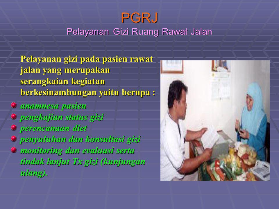 PGRJ Pelayanan Gizi Ruang Rawat Jalan Pelayanan gizi pada pasien rawat jalan yang merupakan serangkaian kegiatan berkesinambungan yaitu berupa : anamn