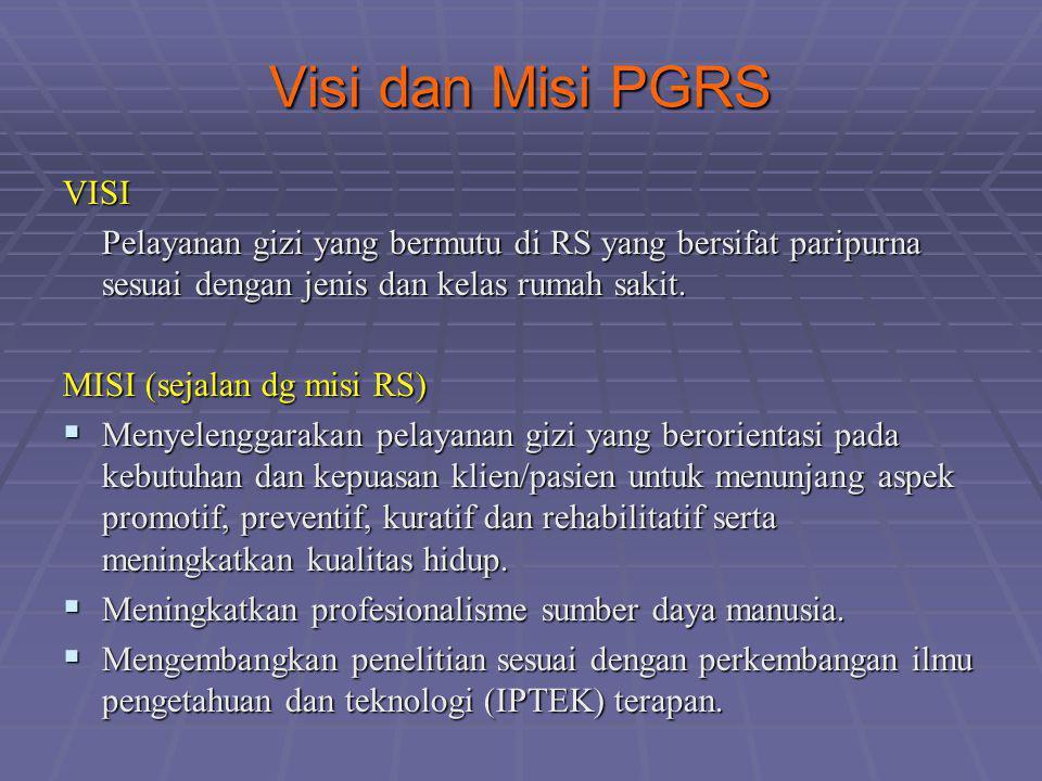 Visi dan Misi PGRS VISI Pelayanan gizi yang bermutu di RS yang bersifat paripurna sesuai dengan jenis dan kelas rumah sakit. MISI (sejalan dg misi RS)