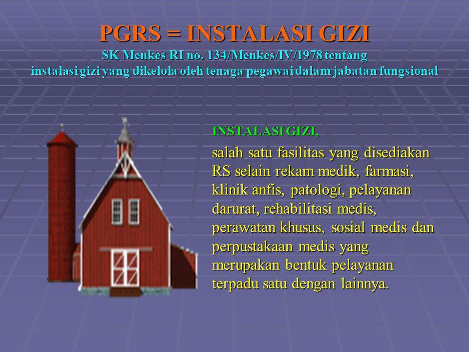 PGRS = INSTALASI GIZI SK Menkes RI no. 134/Menkes/IV/1978 tentang instalasi gizi yang dikelola oleh tenaga pegawai dalam jabatan fungsional INSTALASI