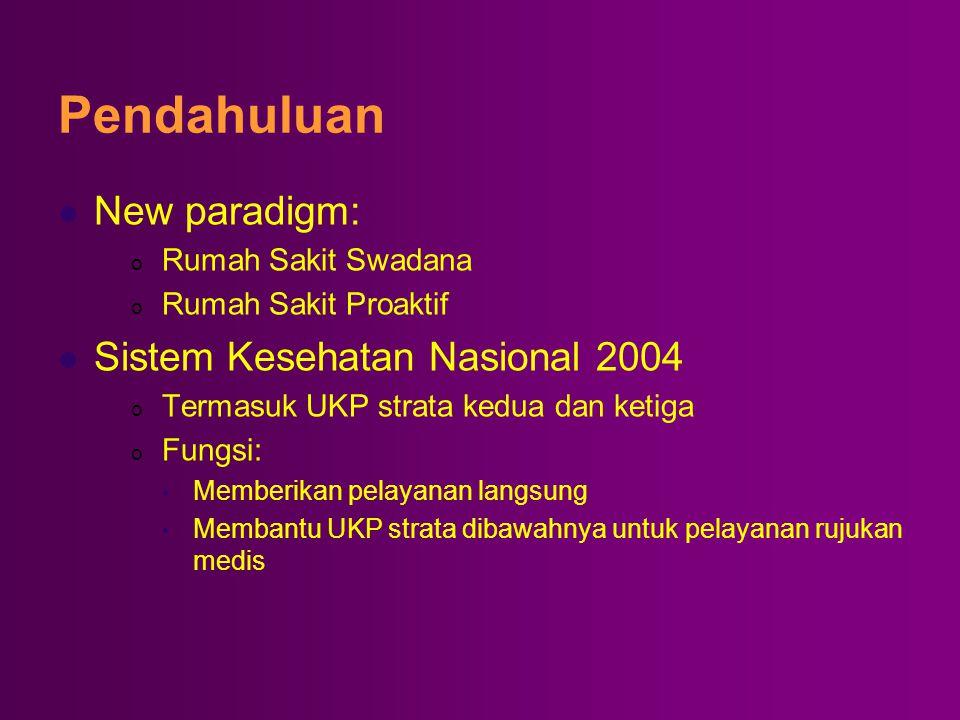 Pendahuluan  New paradigm: o Rumah Sakit Swadana o Rumah Sakit Proaktif  Sistem Kesehatan Nasional 2004 o Termasuk UKP strata kedua dan ketiga o Fun