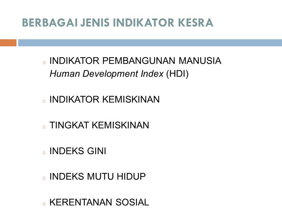 BERBAGAI JENIS INDIKATOR KESRA o INDIKATOR PEMBANGUNAN MANUSIA Human Development Index (HDI) o INDIKATOR KEMISKINAN o TINGKAT KEMISKINAN o INDEKS GINI o INDEKS MUTU HIDUP o KERENTANAN SOSIAL