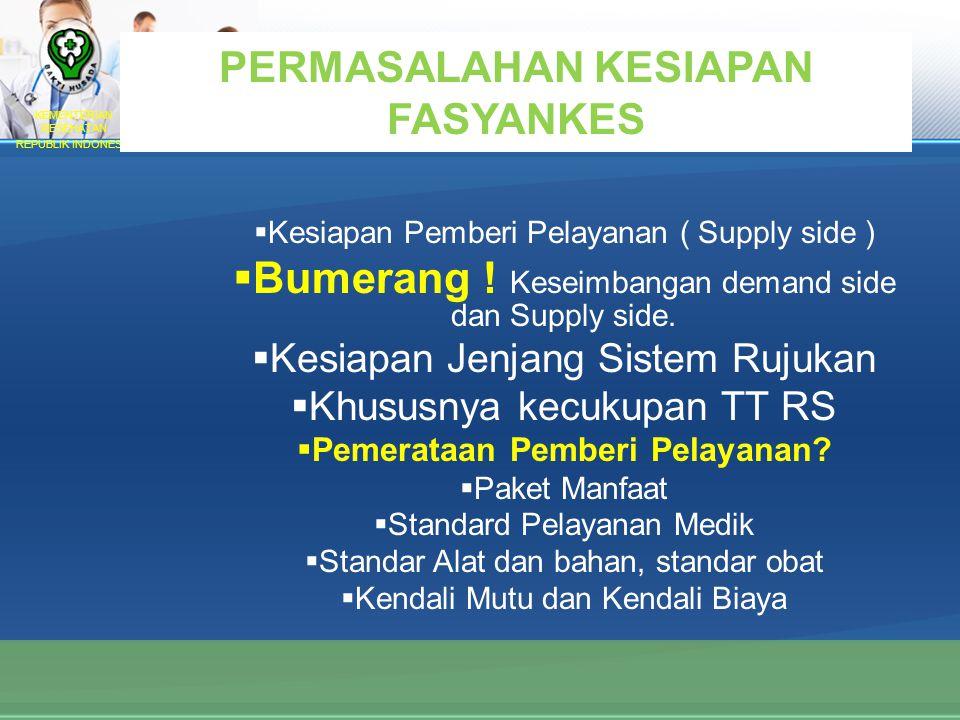 KEMENTERIAN KESEHATAN REPUBLIK INDONESIA PERMASALAHAN KESIAPAN FASYANKES  Kesiapan Pemberi Pelayanan ( Supply side )  Bumerang .