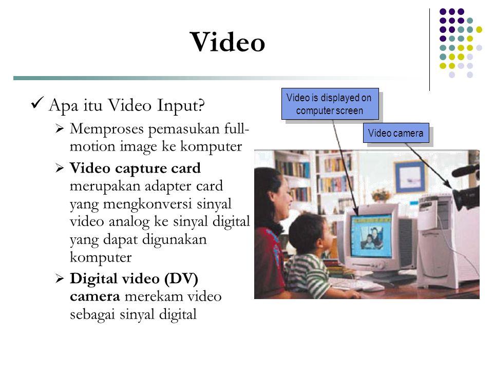 Video  Apa itu Video Input?  Memproses pemasukan full- motion image ke komputer  Video capture card merupakan adapter card yang mengkonversi sinyal