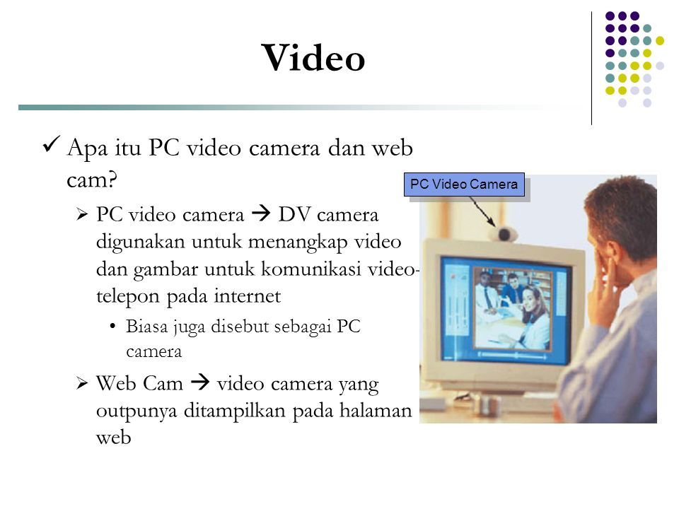 Video  Apa itu PC video camera dan web cam?  PC video camera  DV camera digunakan untuk menangkap video dan gambar untuk komunikasi video- telepon