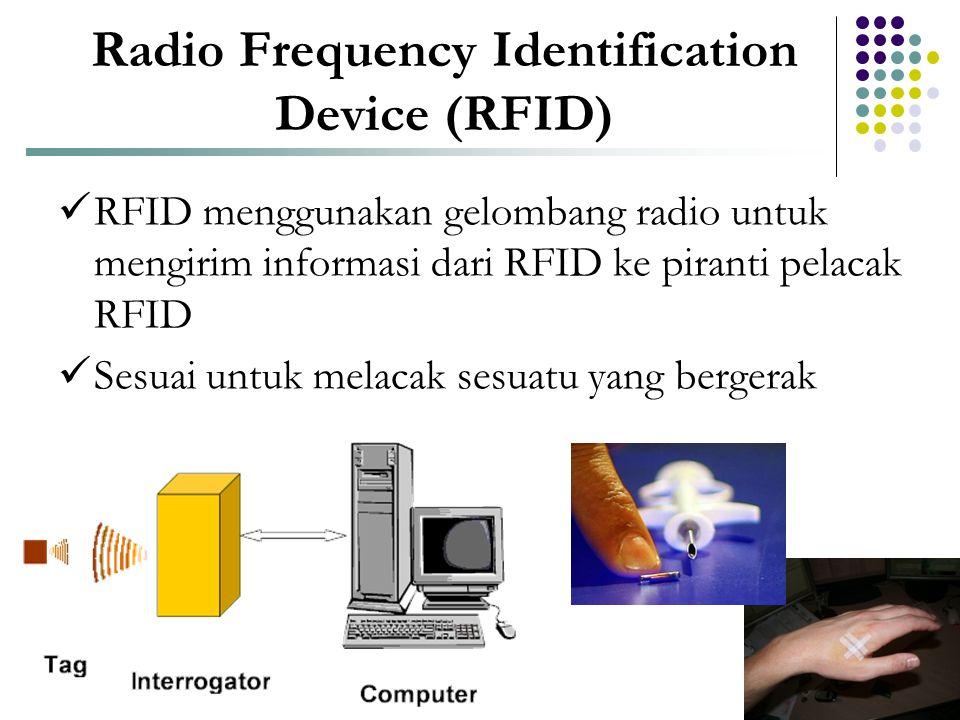 Radio Frequency Identification Device (RFID)  RFID menggunakan gelombang radio untuk mengirim informasi dari RFID ke piranti pelacak RFID  Sesuai un