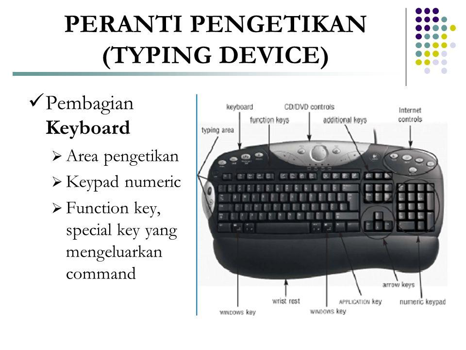 PERANTI PENGETIKAN (TYPING DEVICE)  Pembagian Keyboard  Area pengetikan  Keypad numeric  Function key, special key yang mengeluarkan command