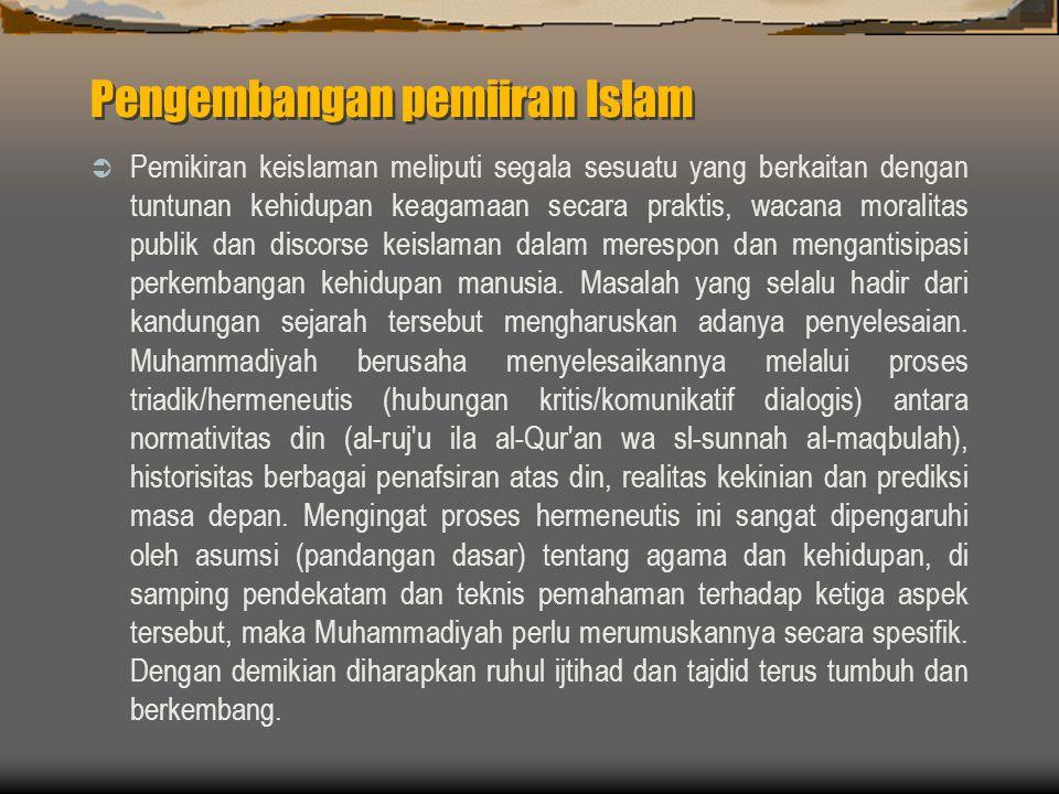 Pengembangan pemiiran Islam  Pemikiran keislaman meliputi segala sesuatu yang berkaitan dengan tuntunan kehidupan keagamaan secara praktis, wacana moralitas publik dan discorse keislaman dalam merespon dan mengantisipasi perkembangan kehidupan manusia.