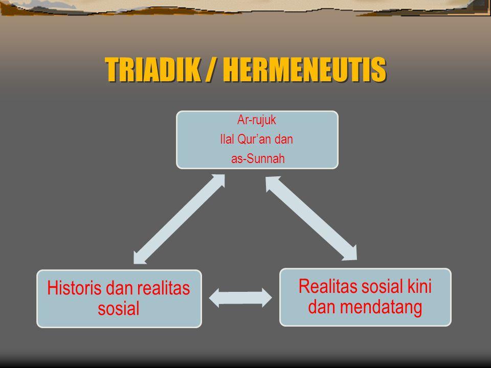 TRIADIK / HERMENEUTIS Ar-rujuk Ilal Qur'an dan as-Sunnah Realitas sosial kini dan mendatang Historis dan realitas sosial