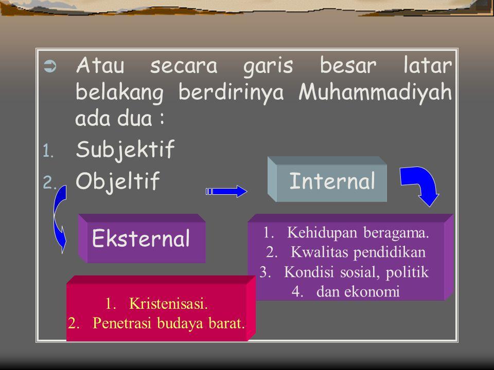  Atau secara garis besar latar belakang berdirinya Muhammadiyah ada dua : 1.