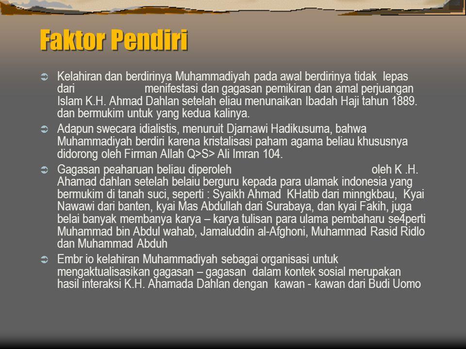 Faktor Pendiri  Kelahiran dan berdirinya Muhammadiyah pada awal berdirinya tidak lepas dari menifestasi dan gagasan pemikiran dan amal perjuangan Islam K.H.