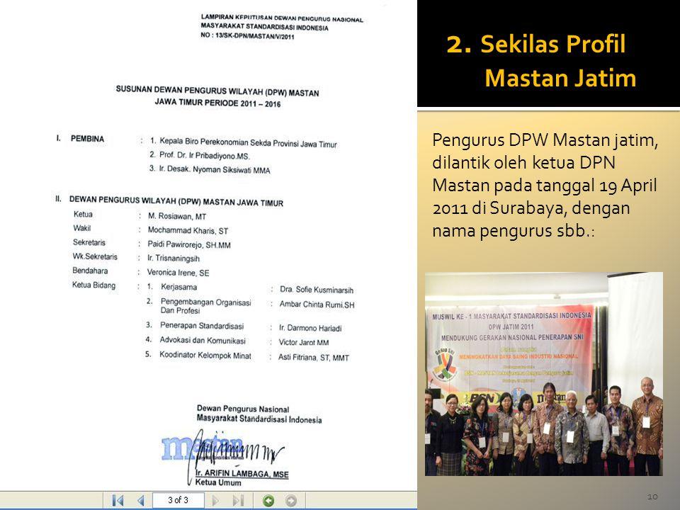 10M.Rosiawan 2. Sekilas Profil Mastan Jatim Pengurus DPW Mastan jatim, dilantik oleh ketua DPN Mastan pada tanggal 19 April 2011 di Surabaya, dengan n
