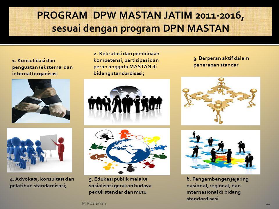 11M.Rosiawan PROGRAM DPW MASTAN JATIM 2011-2016, sesuai dengan program DPN MASTAN 1. Konsolidasi dan penguatan (eksternal dan internal) organisasi 2.