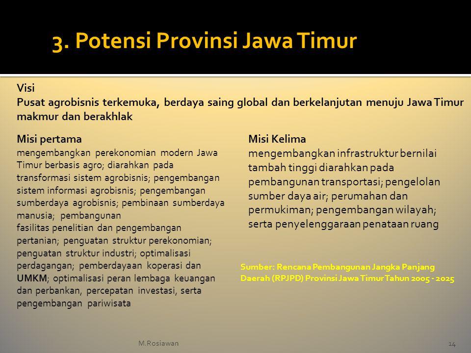 Visi Pusat agrobisnis terkemuka, berdaya saing global dan berkelanjutan menuju Jawa Timur makmur dan berakhlak Misi pertama mengembangkan perekonomian