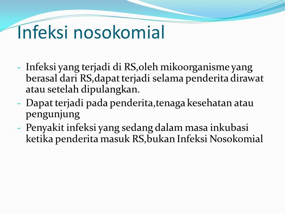 Infeksi nosokomial - Infeksi yang terjadi di RS,oleh mikoorganisme yang berasal dari RS,dapat terjadi selama penderita dirawat atau setelah dipulangka