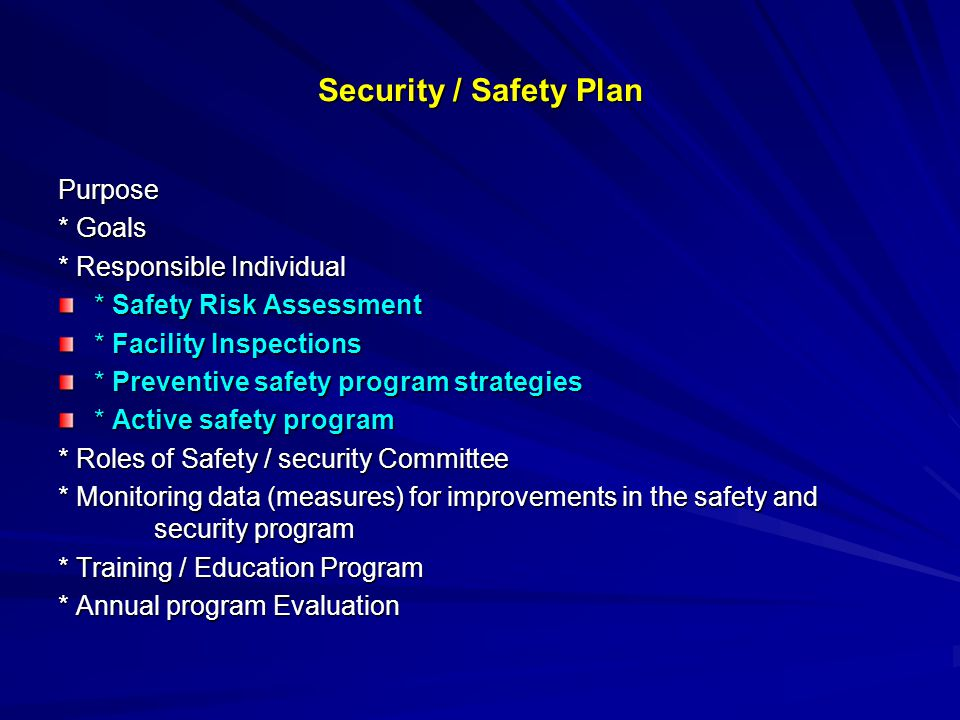 Security / Safety Plan Purpose * Goals * Responsible Individual * Safety Risk Assessment * Facility Inspections * Preventive safety program strategies * Active safety program * Roles of Safety / security Committee * Monitoring data (measures) for improvements in the safety and security program * Training / Education Program * Annual program Evaluation