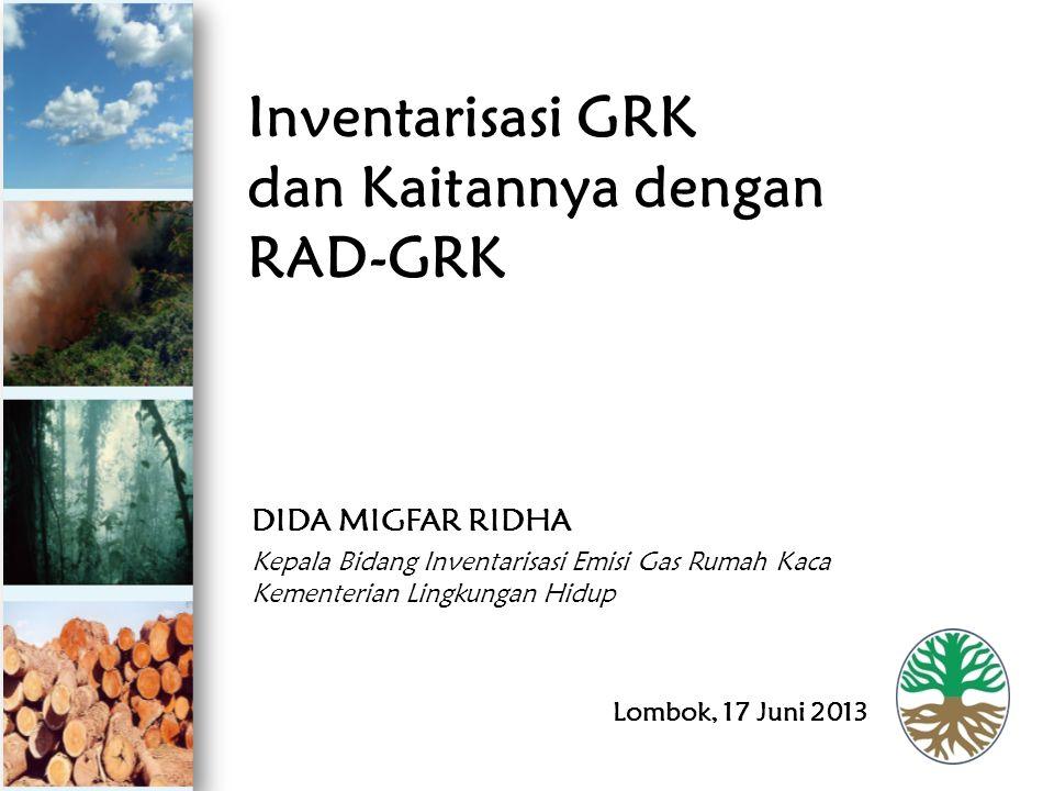 Isi Paparan: 1.Capaian 2012 Inventarisasi & RAD- GRK 2.Fokus Inventarisasi GRK terkait RAD- GRK 3.Penyelenggaraan Inventarisasi GRK 2013 4.Peran Daerah terkait Inventarisasi GRK 5.Penutup
