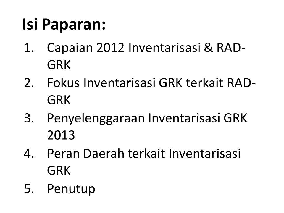 Isi Paparan: 1.Capaian 2012 Inventarisasi & RAD- GRK 2.Fokus Inventarisasi GRK terkait RAD- GRK 3.Penyelenggaraan Inventarisasi GRK 2013 4.Peran Daera
