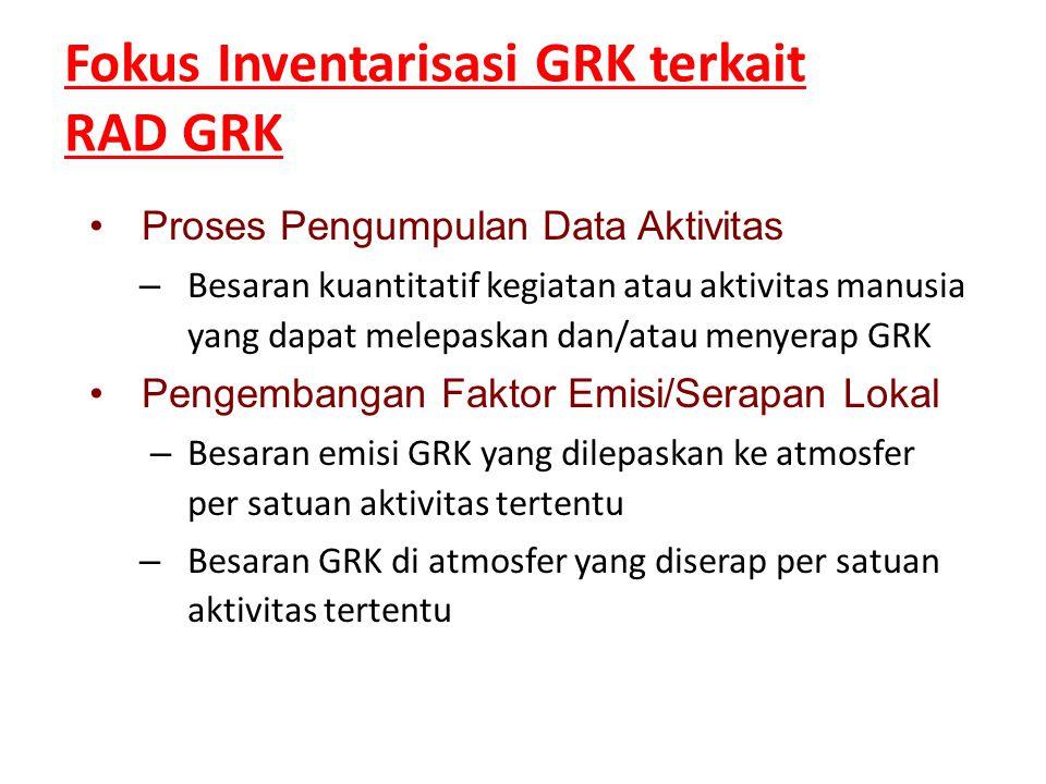 •Proses Pengumpulan Data Aktivitas – Besaran kuantitatif kegiatan atau aktivitas manusia yang dapat melepaskan dan/atau menyerap GRK •Pengembangan Fak